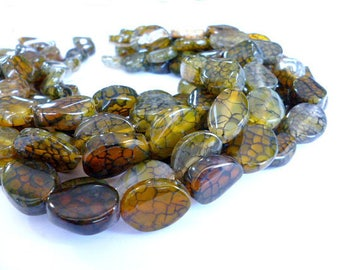 Genuine Oval Candy Crackle Agate Bea/Oval Crackle Agate of 10x19mm hole 2 mm/strand 18 bead