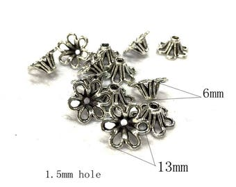 Small silver tone alloy receptacle/ receptacle accessories_Silver tone_13x6mm_1.5mm hole_Pack of 35 pcs
