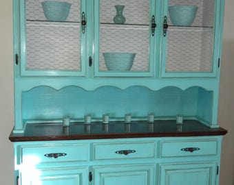 Vintage hand painted teal china hutch