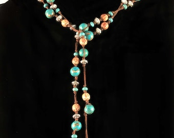 Turquoise, wooden and silver lariat necklace