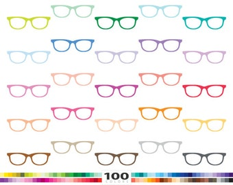 Eyeglasses clipart 100 rainbow colors geek hipster nerdy glasses vector svg eps png illustration planner stickers clip art set