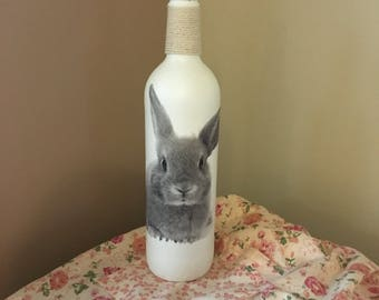 Rabbit Decoupage Bottle