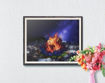 Bonfire Painting, Printable Wall Art, Wall Art Print, Bonfire Print, Camping Print, Modern Art, Camping Art, Instant Download, Wall Print