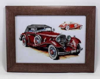 Beaded picture Retro Car Mercedes Benz red automobile bead-embroidered decor gift beadwork embroidery bead art interior design decoration