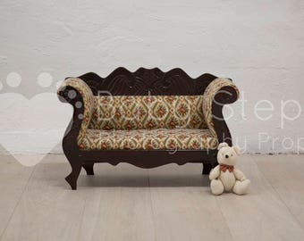 Dark Wood Couch Newborn Photography Digital Backdrop Instant Download Vintage Quilted Upholstered Teddy Furniture Seat Chair White Floor
