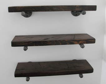 Industrial pipe shelves, pipe shelves, Rustic shelf, reclaimed wood shelf, floating pipe shelves