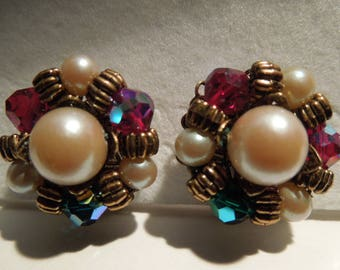 Earrings vintage faux pearls and aurora borealis beads