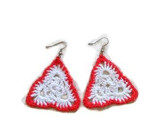 Triangle crochet earrings,handmade gift