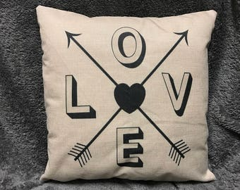 Love Arrows Pillow - Available With or Without Pillow Insert