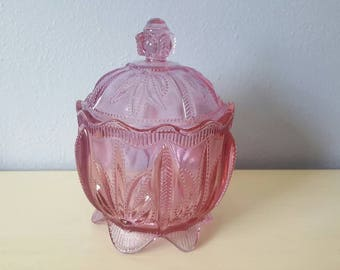 Pink cut glass vintage candy dish