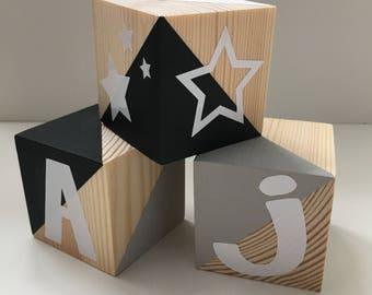 Handpainted Solid Pine Wooden Blocks/Cubes (Set of 3)