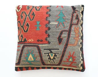 "Kilim rug pillow cover 20""x20"" (50x50cm) 026"