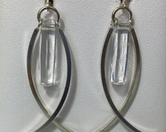 Silver Dangle Ichthus Earrings