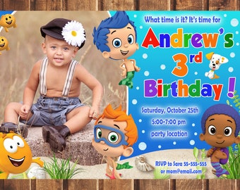 Bubble Guppies Invitation, Bubble Guppies Birthday Invitation, Bubble Guppies, Bubble Guppies Printable, Bubble Guppies Card -digital e
