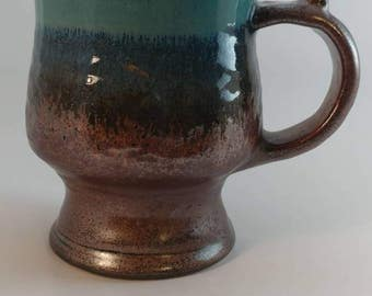 Handcrafted Turqouis & Copper Footed wheel thrown stoneware pottery Mug