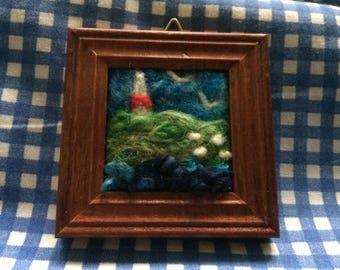 Needle felt miniature picture frame - Lighthouse - Nautical landscape