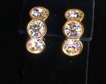 Swarovski Crystal 3 Stone Earrings