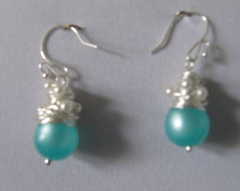 Aqua wire-wrapped earrings