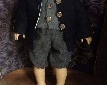American girl doll boy colonial outfit jacket vest shirt pants outfit 1770s 4 piece set