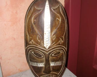 Wooden sculpture - mask - tribal art - female - with metal elements