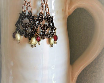 Red Vintage Style Earrings Wine Red Glass and Pearl Party Earrings