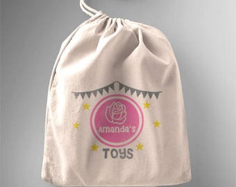 Personalised children's toy bag rose