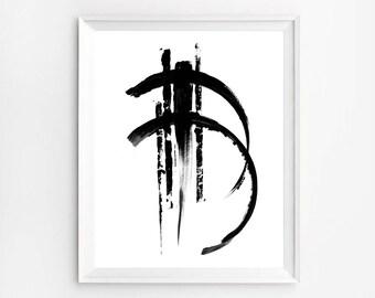 Brush Stroke Print, Brush Stroke Art, Japanese Art, Minimalist Art, Abstract Art, Abstract Print, Brush Strokes, Zen Ink Painting, Zen Art