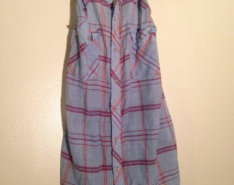 Urban Outfitters Vintage Upcycled Blue Plaid Cowboy Halter Size Small Medium