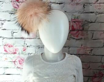 Blush with dark tips Fox fur headband