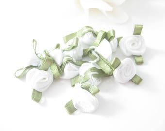25pc Tiny White RoseBud Flowers, Craft Supplies
