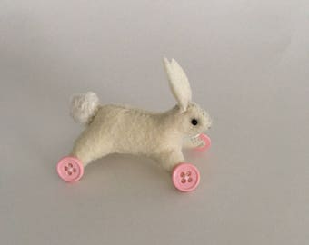 Blythe toy, bunny on wheels, 1/6 scale prop, miniature bunny