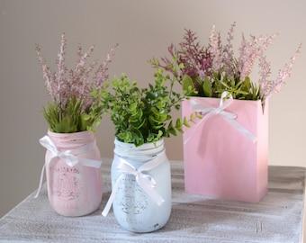Antiqued Mason jars