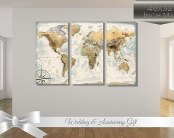 Large World Map - Push Pin - Anniversary Gift - Ready to Hang - Vinyl Wrapped on 3 Gatorboard Panels - Professional Cartography