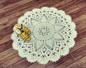 Russian rug, Russian carpet, Russian mat, Russian tapestry, Circular rug, Crochet rug, white rug, white carpet, gift