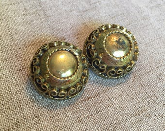 Luisa Conti Clip On Earrings, Vintage Brass