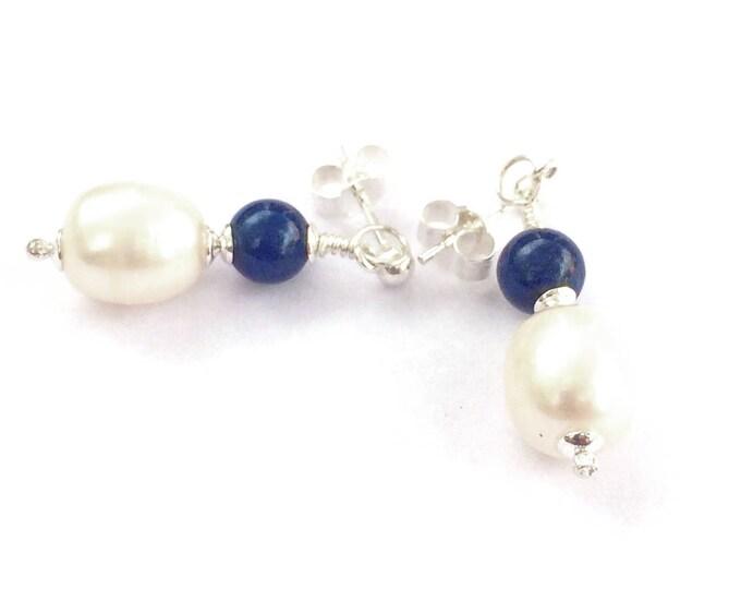 Lapis Lazuli Freshwater Pearl Drop Earrings