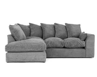 Brand New Dylan jumbo Cord Corner Sofa Gray Settee | 1 Year Warranty | Spring Base | 6 Different Color Available