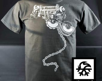 T-Shirt race rear derailleur mountain bike MTB bicycle bike illustration by Waveslide