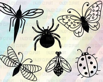 Insect Clipart, Insect Svg, Dragonfly Svg, Butterfly Svg File, Ladybug Svg, Ladybug Clip Art, Spider Svg, Silhouette Cameo Files, Png Files