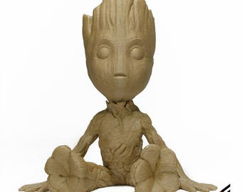 Real Wood Baby Groot Guardians of the Galaxy 2, 3D Printed Natural Eco-Friendly Paintable Wood  FREE SHIPPING