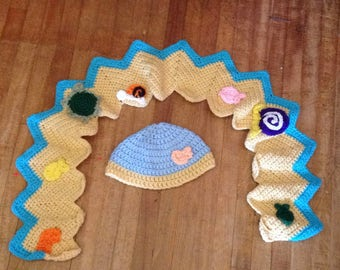Crochet sea hat and scarf set