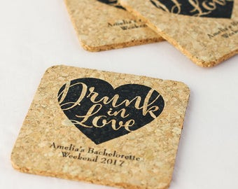 Personalized Square Cork Wedding Coasters