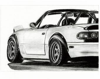 Mazda miata print of charcoal drawing roadster trackcar racecar longlivetheroadster