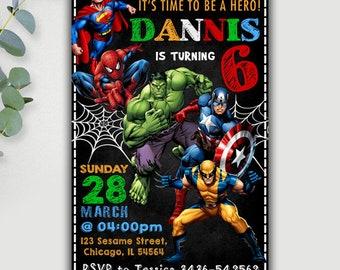 Superhero Invitation, Superhero Birthday Invitation, Superhero Party, Superhero Printable, Superhero Card, Superhero Invite, Superhero