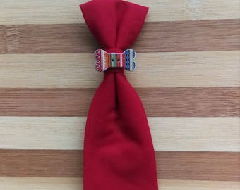 SMALL  Pet Tie Red with Colorful Bone Accessory - Slip Through Collar