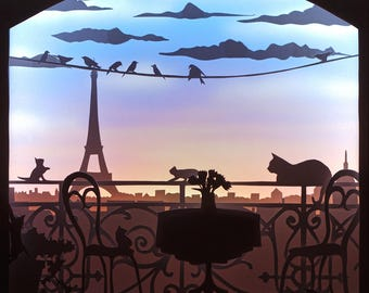 The Balcony, Shadowbox, Diorama, Light box, Paperart