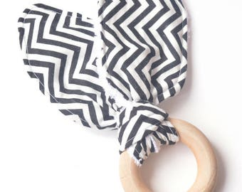 bunny ear teether, monochrome baby, crinkle teether, black and white, natural wood, baby shower gift, new mom gift,crinkle bunny ear teether