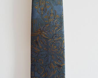 Patterned tie blue necktie Made in ITALY, Vintage