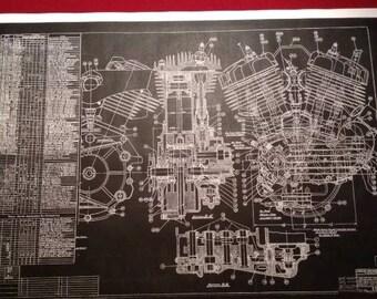 Harley Davidson Flathead Blueprint Art   KeyWords: Poster, Photo, Print, Sign, Vintage Motorcycle Motor,