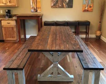 Distressed Trestle Farm Table Set